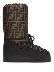 Fendi Ff Print Lace Up Moon Boots Brown Multi