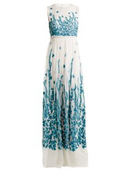 Andrew Gn Floral Embroidered Tulle Gown Blue White