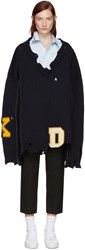 Raf Simons Navy Oversized Destroyed Sweater
