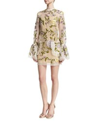 Rachel Gilbert Floral Embroidered Bell Sleeve Dress Ivory