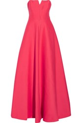 Halston Heritage Strapless Cotton And Silk Blend Gown Coral