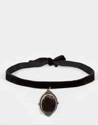Regal Rose Iris Black Mother Of Pearl Velvet Choker Silver