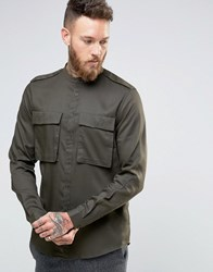 Asos Military Shirt In Drape Fabric With Grandad Collar Khaki Green