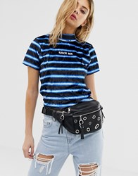 The Ragged Priest Velour Stripe Crop Top With Slogan Black