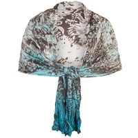 Chesca Painted Ombre Crush Pleat Shawl Ivory Turquoise