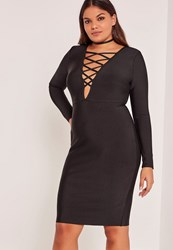 Missguided Black Plus Size Lace Up Bandage Midi Dress