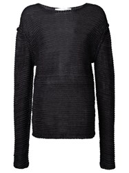 Isabel Benenato Open Knit Jumper Black