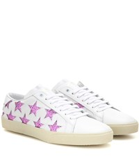 Saint Laurent Embellished Leather Sneakers White