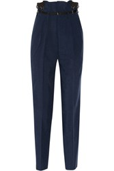 Toga Lace Trimmed Crepe Tapered Pants Blue