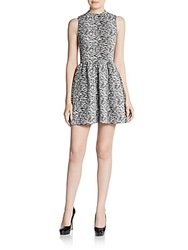Saks Fifth Avenue Red Jacquard Jersey Knit Fit And Flare Dress Black White