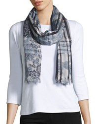Lord And Taylor Floral Paisley Scarf Grey
