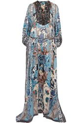 Roberto Cavalli Lace Up Bead Embellished Printed Silk Georgette Maxi Dress Blue