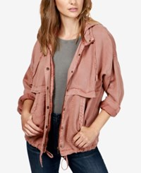 Lucky Brand Hooded Twill Jacket Blush