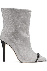 Marco De Vincenzo Pvc Trimmed Crystal Embellished Leather Ankle Boots Silver