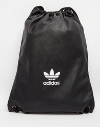 Adidas Originals Drawstring Backpack In Faux Leather Black