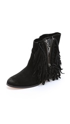 Cynthia Vincent Nibble Suede Fringe Booties Black