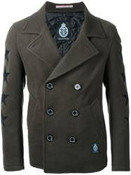 Guild Prime Stars Motif Double Breasted Coat Green