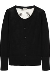 Temperley London Marnie Wool Blend And Lace Cardigan Black