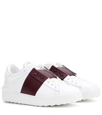 Valentino Open Leather Sneakers White