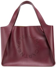 Stella Mccartney Perforated Logo Tote Red