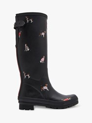 Joules Printed Waterproof Rubber Wellington Boots Black Dogs