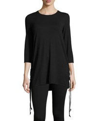 Neiman Marcus Crewneck Tunic With Lace Up Sides Black