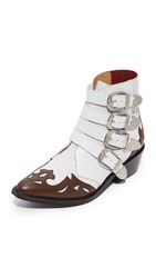 Toga Pulla Cowboy Buckle Booties White Embossed