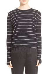 Enza Costa Stripe Cotton And Cashmere Tee Black White
