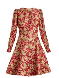Valentino Floral Brocade Long Sleeved Woven Dress Pink Gold
