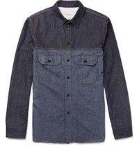 Berluti Two Tone Denim Shirt Indigo
