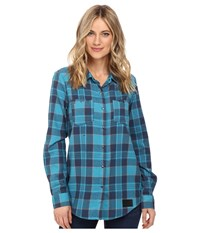 Volcom Snow Granite Flannel Shirt Teal Women's Long Sleeve Button Up Blue