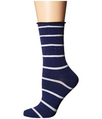 Richer Poorer Joni Navy White Women's Crew Cut Socks Shoes Blue