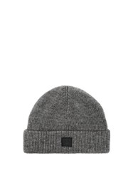 Acne Studios Kansy Face Wool Blend Beanie Hat Grey