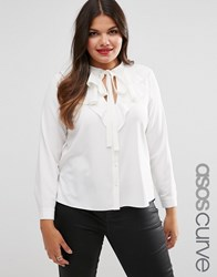 Asos Curve Ruffle Blouse With Keyhole Detail Cream