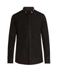 Givenchy Contemporary Fit Star Collar Single Cuff Shirt Black