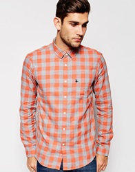 Jack Wills Shirt In Orange Flannel Check Orangecheck