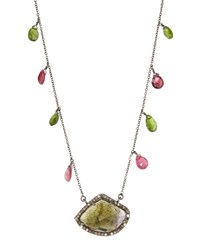 Bavna Tourmaline Dangle Pendant Necklace