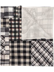 Pierre Louis Mascia Checked Patchwork Scarf Grey