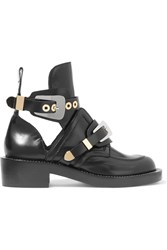Balenciaga Cutout Glossed Leather Ankle Boots Black