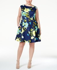 Jessica Howard Plus Size Cap Sleeve Floral Print Fit And Flare Dress Navy
