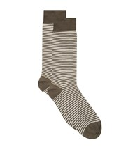 Harrods Stripe Cotton Lisle Socks Green