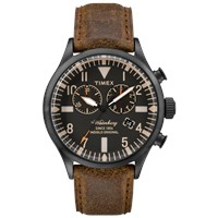 Timex Waterbury Chrono Watch Black And Brown Leather