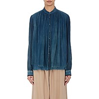 Pas De Calais Women's Mandarin Collar Shirt Blue