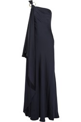 Amanda Wakeley One Shoulder Draped Silk Gown Blue