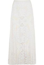 Sea Pleated Lace Maxi Skirt White