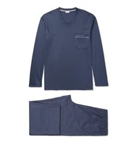 Zimmerli Mercerised Cotton Jersey Pyjama Set Navy