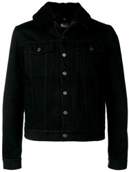 Saint Laurent Shearling Denim Jacket Black
