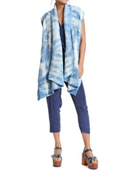 Plenty By Tracy Reese Distressed Mixed Stitch Cardigan Chambray