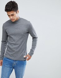 Solid Slim Fit Long Sleeve T Shirt With High Neck Black