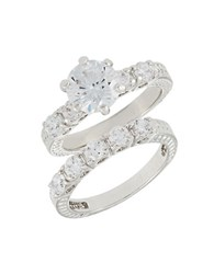 Michela Two Piece Solitaire Ring Set Silver